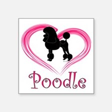 "PoodleSilhouetteHeart Square Sticker 3"" x 3"""