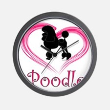 PoodleSilhouetteHeart Wall Clock