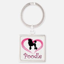 PoodleSilhouetteHeart Square Keychain