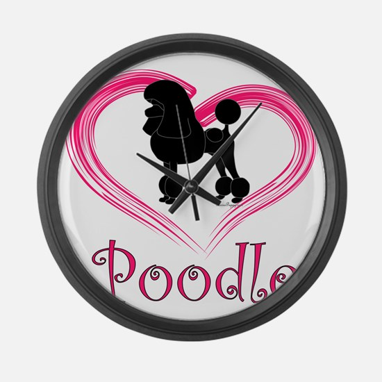 PoodleSilhouetteHeart Large Wall Clock