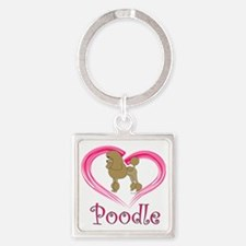 PoodleApricotHeart Square Keychain