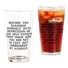2000x2000beforeyoudiagnose2grayclea Drinking Glass