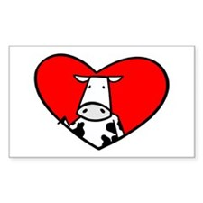 I Heart Cows Rectangle Decal
