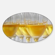 A glass golden yellow of Chateau de Decal