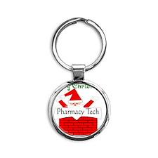 Pharmacy Tech Retro Santa Round Keychain