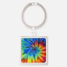 Blue Spiral iPad Square Keychain