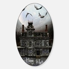 haunted_house_3_greeting_card_192_V Sticker (Oval)