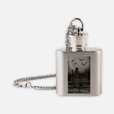 haunted_house_3_greeting_card_192_V Flask Necklace