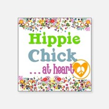 "pillow-hippie-chick Square Sticker 3"" x 3"""
