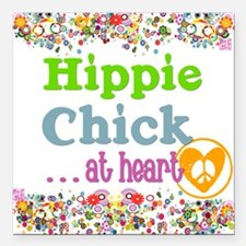 "pillow-hippie-chick Square Car Magnet 3"" x 3"""