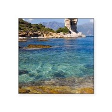 "Corsica. Clear water in Gul Square Sticker 3"" x 3"""