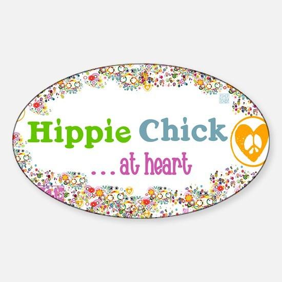 lg-hippie-chick Sticker (Oval)