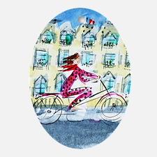 2039 Paris_Paris Woman on Bike_ iPho Oval Ornament