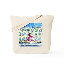 2039 Paris_Paris Woman on Bike_ iPad Tote Bag