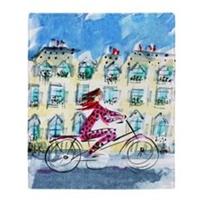 2039 Paris_Paris Woman on Bike_ iPad Throw Blanket