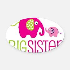 Elephants2BigSisterV2 Oval Car Magnet
