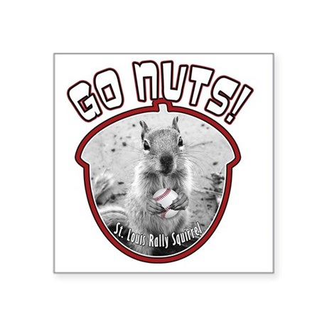 "rally-squirrel-02_go-nuts_0 Square Sticker 3"" x 3"""