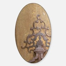 Old iron Door knocker on the wooden Decal