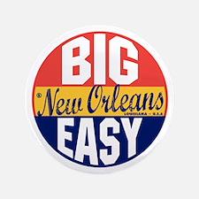 """New Orleans Vintage Label B 3.5"""" Button"""