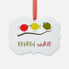 Retired Nurse Retro Birds Ornament