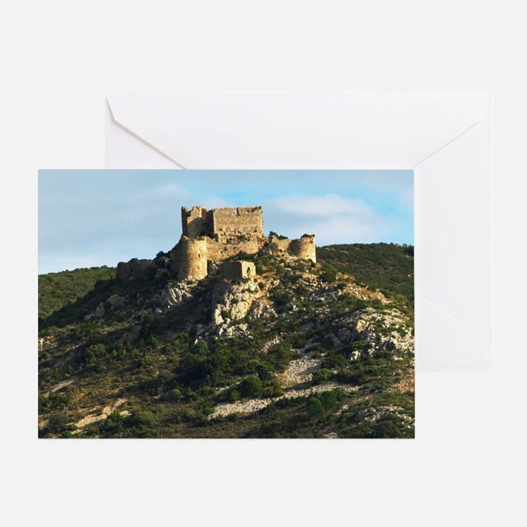 The Chateau dAguilar Cathar hilltop  Greeting Card