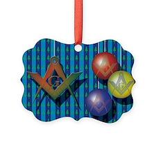 xmas tree card blue Lodge Ornament