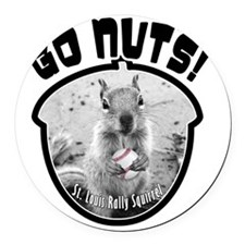 rally-squirrel-02_go-nuts_05 Round Car Magnet