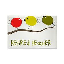 Retired Teacher retro birds Rectangle Magnet
