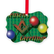 Seasons greet xmas tree card copy Ornament