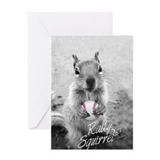 5x3oval_vert_rally-squirrel_03 Greeting Card