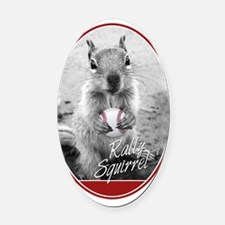 Rally Squirrel Oval Car Magnet