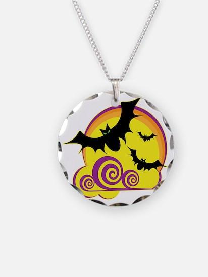 bats-moon-dk Necklace