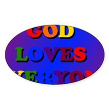 God Loves Everyone Colored Rec Decal