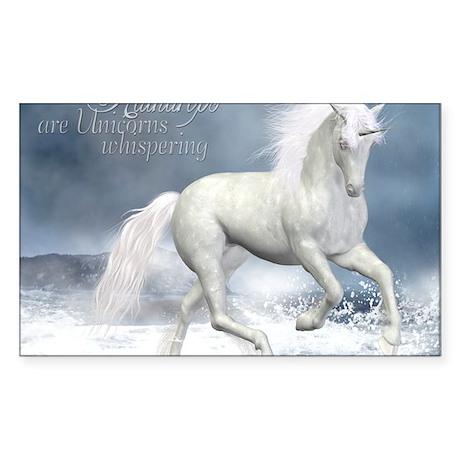 white_unicorn_stadium_blanket_ Sticker (Rectangle)
