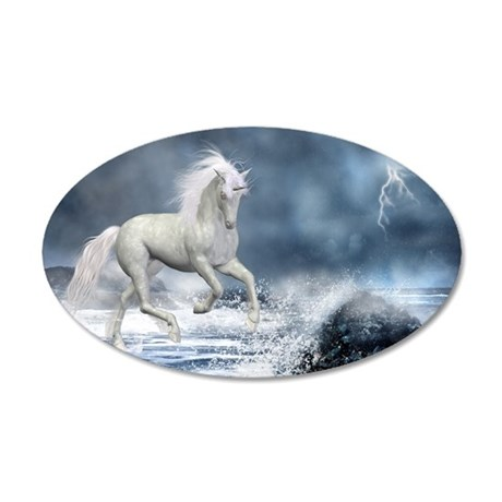 white_unicorn_car_magnet_20_ 35x21 Oval Wall Decal