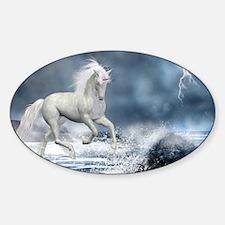white_unicorn_car_magnet_20_mal_12 Sticker (Oval)