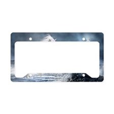 white_unicorn_car_magnet_20_m License Plate Holder