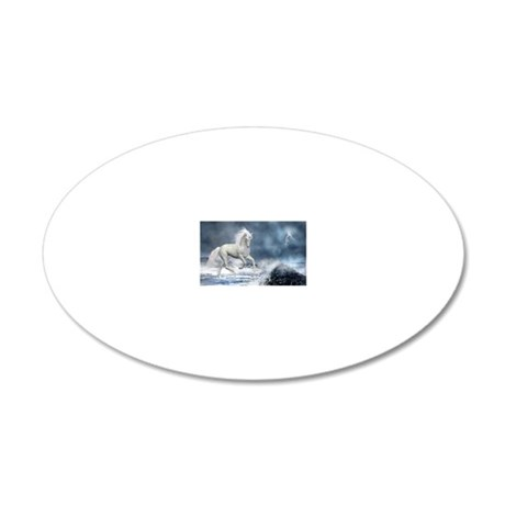 white_unicorn_car_magnet_20_ 20x12 Oval Wall Decal