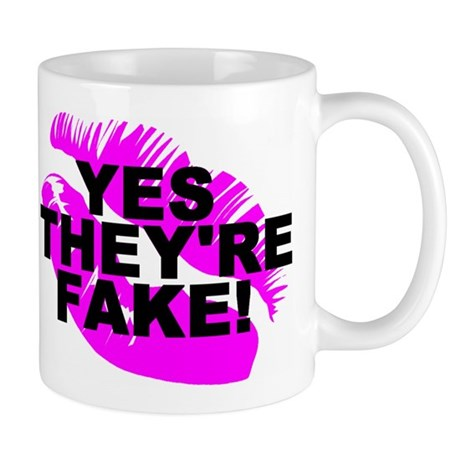 Yes They're Fake! Lipprint Logo Righty Mug