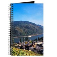 Beautiful Rhine River and wine fields in B Journal