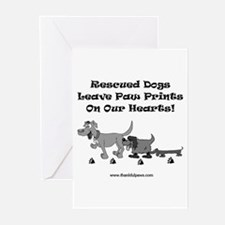 Rescued Dogs Pawprints Greeting Cards (Pk of 6)