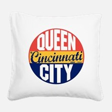 Cincinnati Vintage Label B Square Canvas Pillow