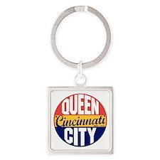 Cincinnati Vintage Label B Square Keychain