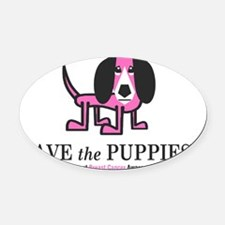 Save The Puppies Oval Car Magnet