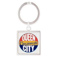 Cincinnati Vintage Label W Square Keychain