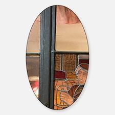 Cafe Window / EveningRhin), Strasbo Sticker (Oval)