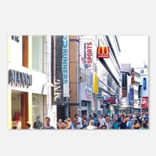 Pedestrian street crowded Postcards (Package of 8)