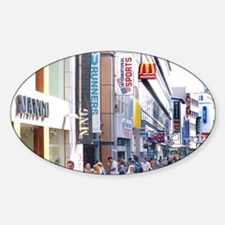 Pedestrian street crowded with shop Sticker (Oval)