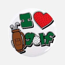 """I love golf, colored2 grapic 3.5"""" Button"""