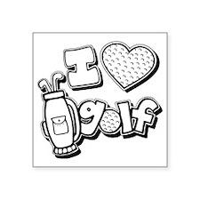 "I love golf, black2 grapic Square Sticker 3"" x 3"""